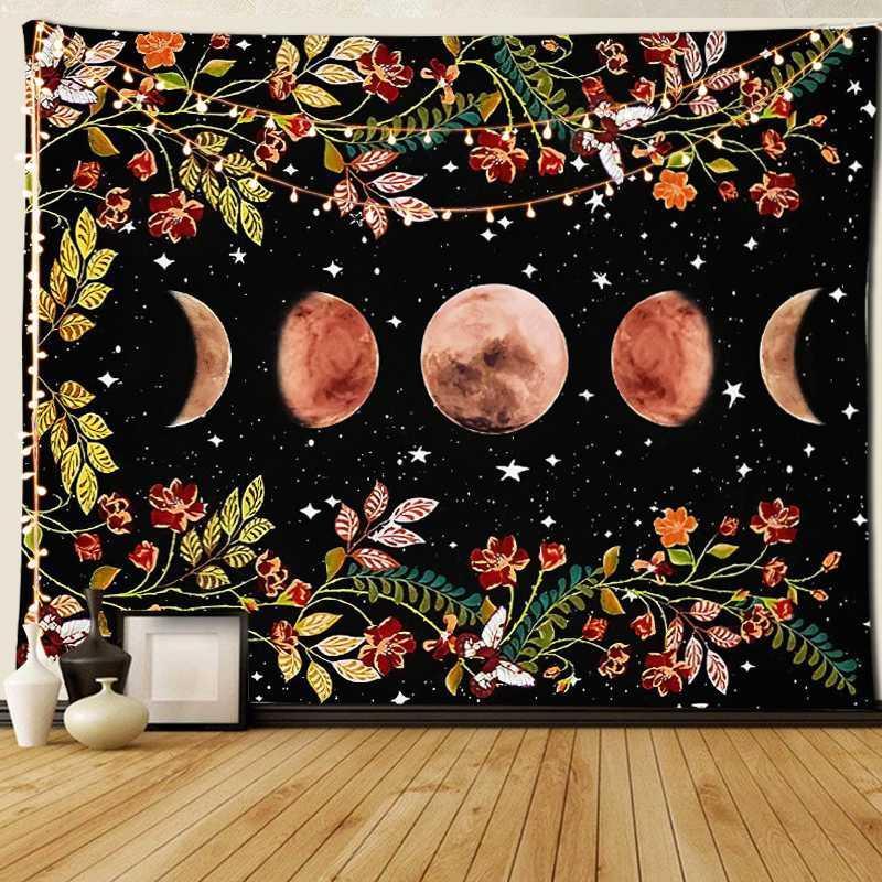 Tapiz de la pared de flores colgantes manta cielo estrellado de la alfombra Luna Tapices Arte Poliéster Inicio Accesorios Decoración