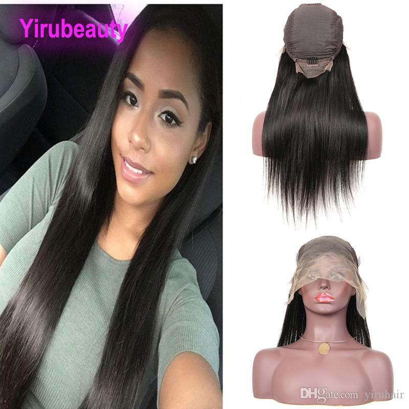 인도 버진 인간의 머리카락 스트레이트 13x6 레이스 프론트 가발 자연 색 13 밍크 레이스 가발