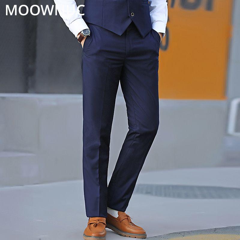 Longs Calças Moda Terno Calças Masculinas Groomsman Casual Homens de Negócios Nova Marca de Casamento Slim Fit MOOWNUC Terno Calças