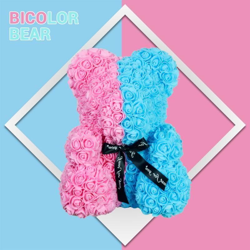 2020 NUEVO Bicolor 40cm del oso de peluche de la flor artificial de Rose de la espuma de jabón oso Caja de regalo para el regalo del Día de la Mujer de San Valentín
