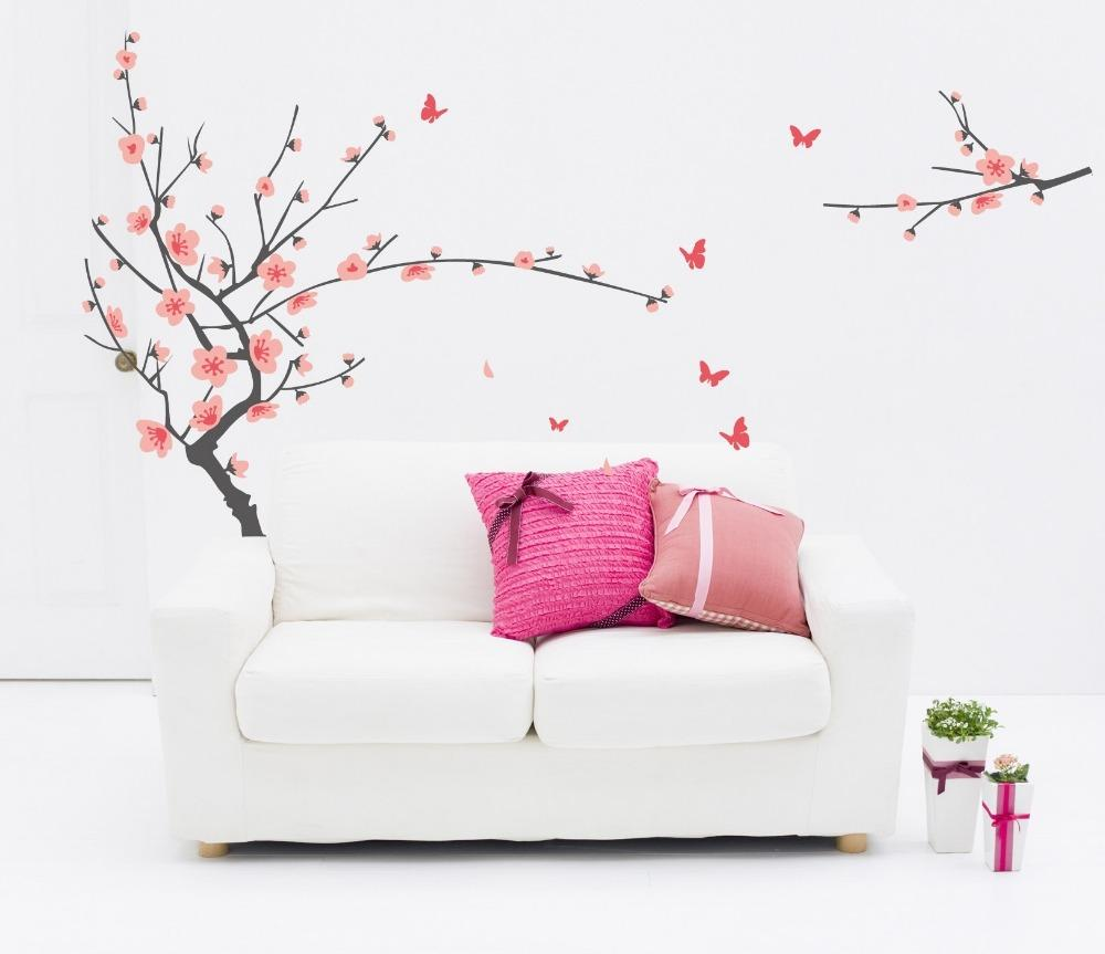 pastel pink cherry flower tree wall stickers decals women home salon bedroom dining room decor spring plum blossom wall papers