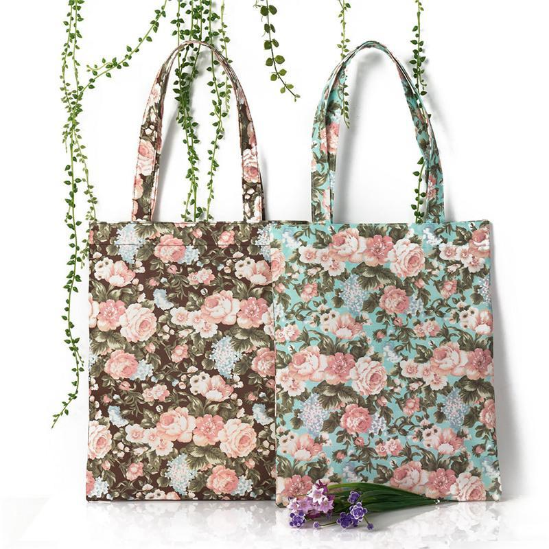 2017 Europäische Hirtenart Blumenwasserdichte Segeltuch-Strand-Handtaschen-Qualitäts-Frauen-Schulter-Einkaufstasche
