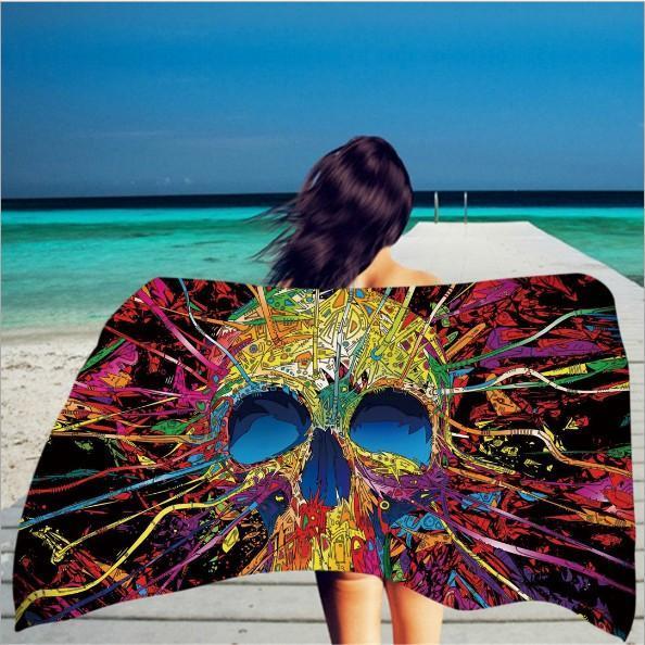 2020 yeni Kare Baskı 150 * 75cm Plaj Havlusu İskelet Kafa Havlu Süper Elyaf ile Püskül Renk Yumuşak El DHL Ücretsiz 116