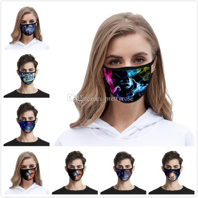 3D Impreso Mascarilla Hombres Mujeres Niños seda del hielo de la boca de la máscara de sombra al aire lavable Sun UV Cielo protector Máscara Diseñador universo