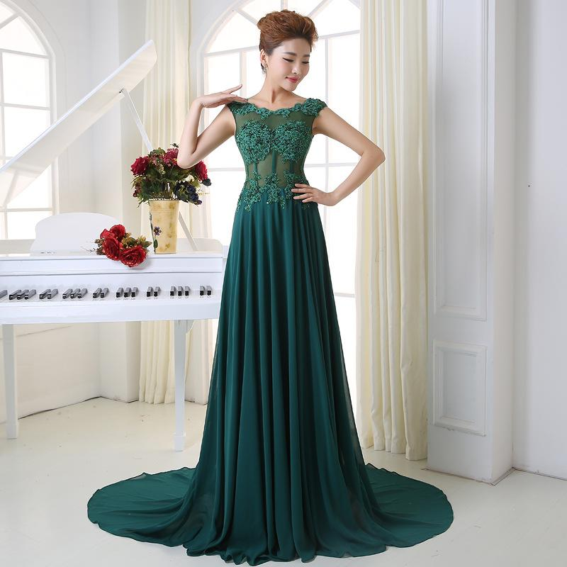 New High Quality Green Chiffon Lace Applique Word Shoulder Bridesmaid Dresses Long Tail Back Small Hollow Bandage Evening Dresses