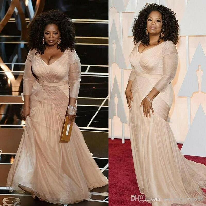2020 Fashion Oprah Winfrey Evening Mother Dresses Mermaid Plus size V neck Long Sleeves Champagne Ruched Chiffon Red Carpet Celebrity Dress