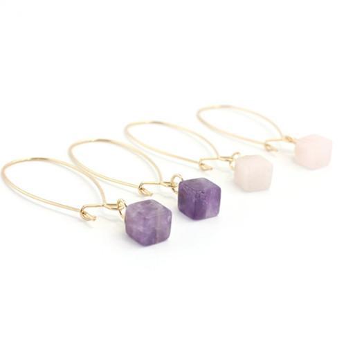 Venta al por mayor 10 pares de moda chapado en oro Pendientes Pendientes Cuadrados Amatista Piedra Rosa Cuarzo Triángulo Joyería de moda