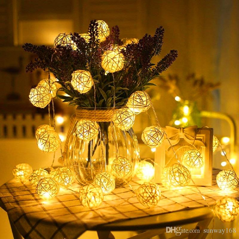 Globe Rattan Ball String Lights Goodia 13.8feet 40 LED Warm White Fairy Light for Indoor Bedroom Wedding Holiday Christmas Tree Party