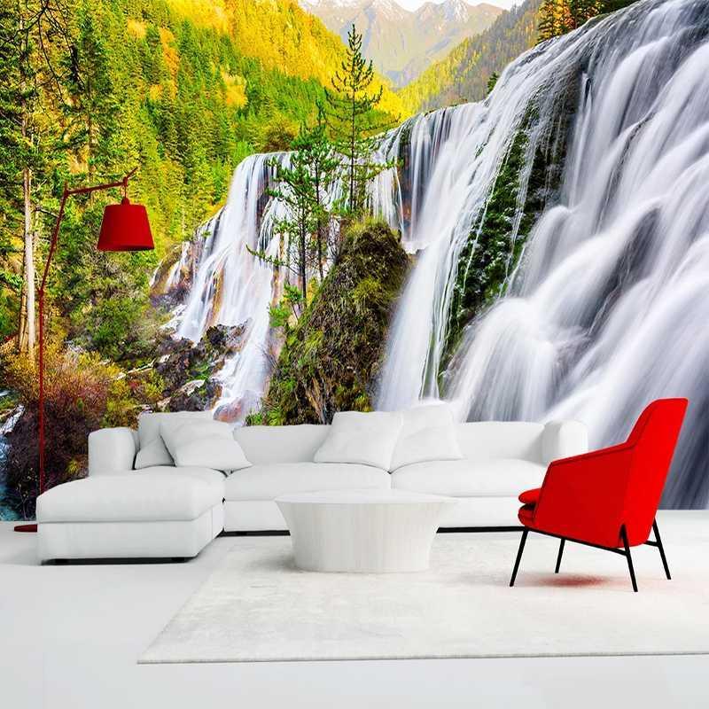 Photo Wallpaper costume 3D Natureza bonita paisagem da cachoeira Mural Quarto fundo Sala de TV não-tecido papel de parede 3D