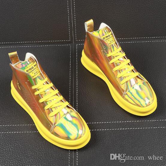 zapatos blancos de alta superior zapatos de verano de los hombres zapatos de plataforma de la juventud de los hombres 92