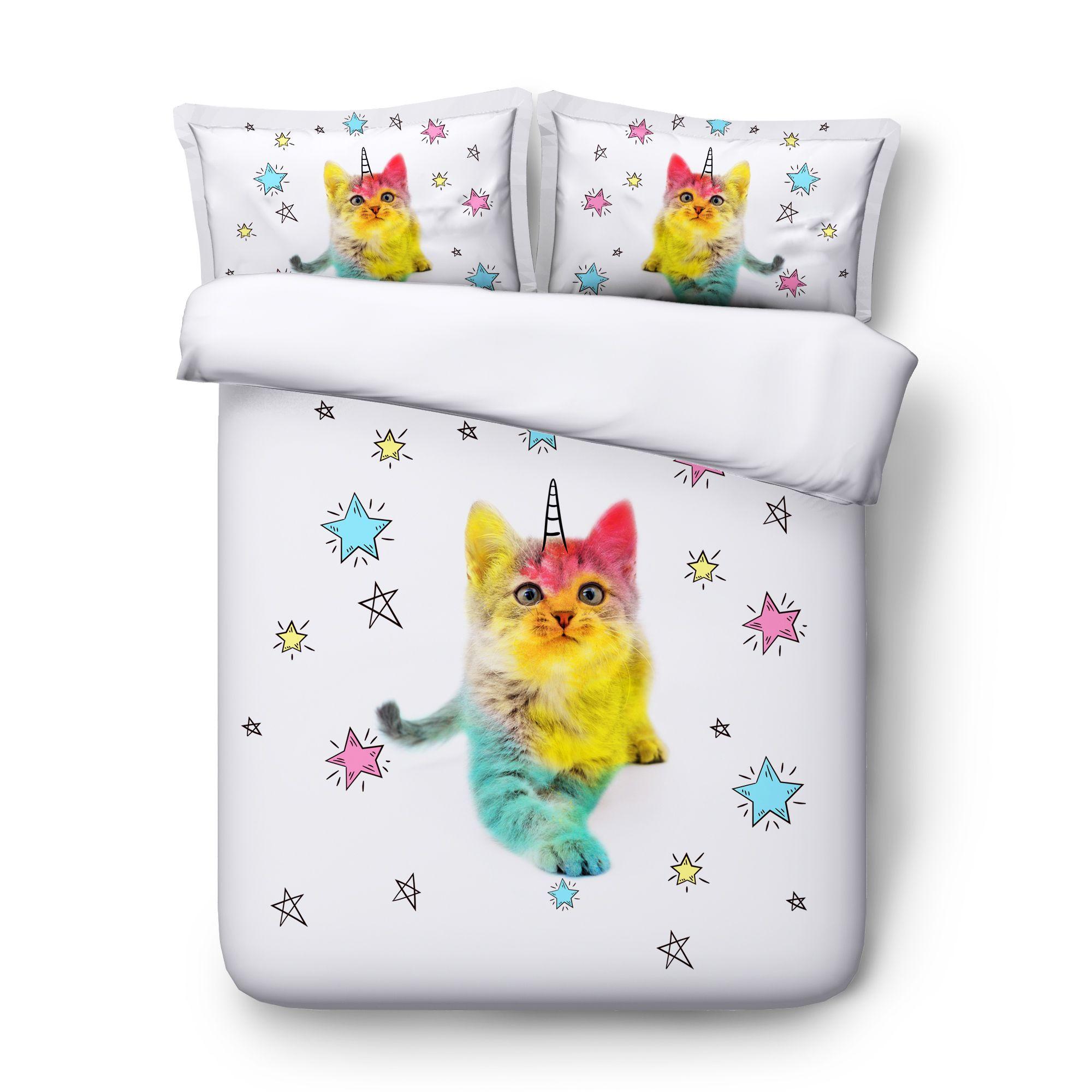 3D Stella Bedding Unicorn Cat Duvet Cover Consolatore copertura del cuscino Shams Cat Unicorn Bed Arcobaleno Copripiumini Cat copriletto 225x240CM