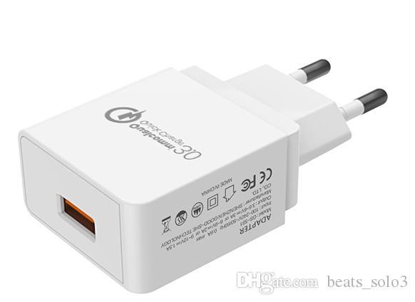 Cargador QC3.0 Cabezal de carga rápida europeo certificado CE 5V / 9V / 12V Cargador móvil Artículos calientes