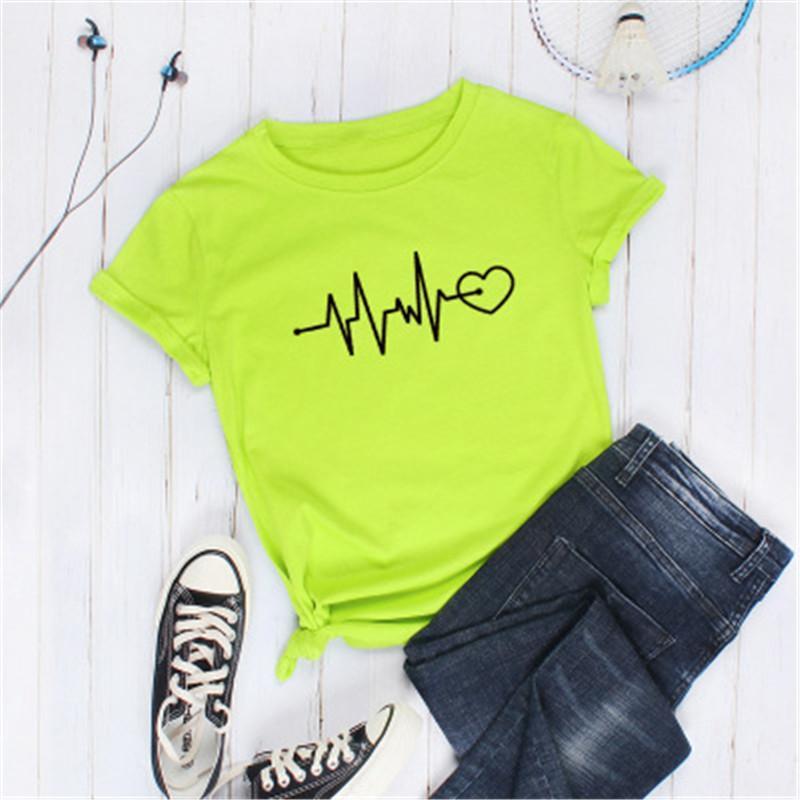 Diseñador ECG impresión mujeres de manga corta de verano femenino ocasional de cuello redondo Streetwear camiseta suelta la manera de vestir de las tapas Tee