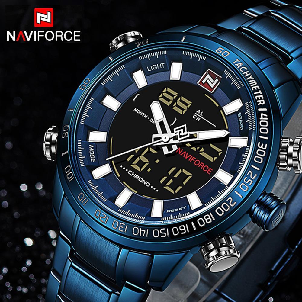 NAVIFORCE 9093 Top Marke Herren Quarzuhr Mode Digital LED Sportuhr Wasserdicht Mann Uhren Männliche Uhr Relogio Masculino