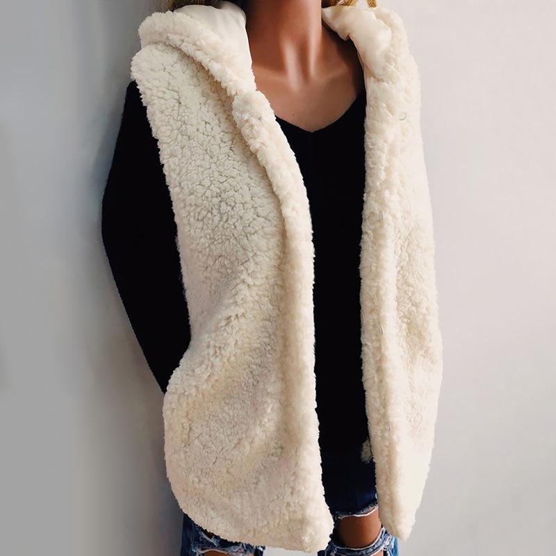 Sonbahar Kış Yeni Polar Yelek Kapşonlu Kadın Casual Kürk Yelek Ceket Coat Cep Hoody Kolsuz Kürk yelek kadın Giyim Femme