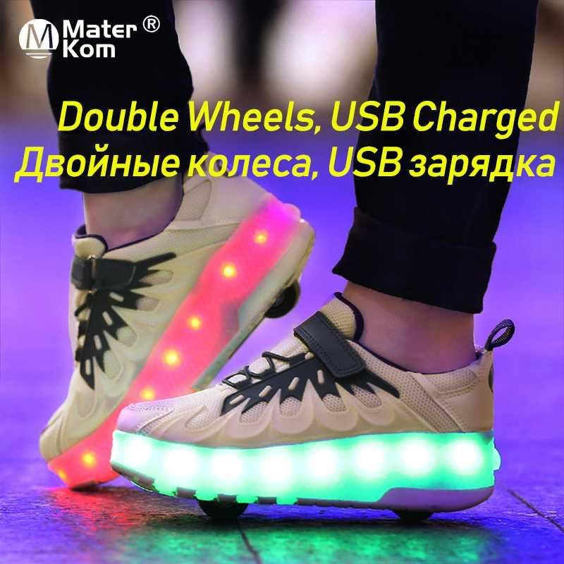 Size 28-40 LED Wheels Sneakers for Children USB Charged Luminous Roller Skate Shoes with Lights Kids Shoes with Double Wheels