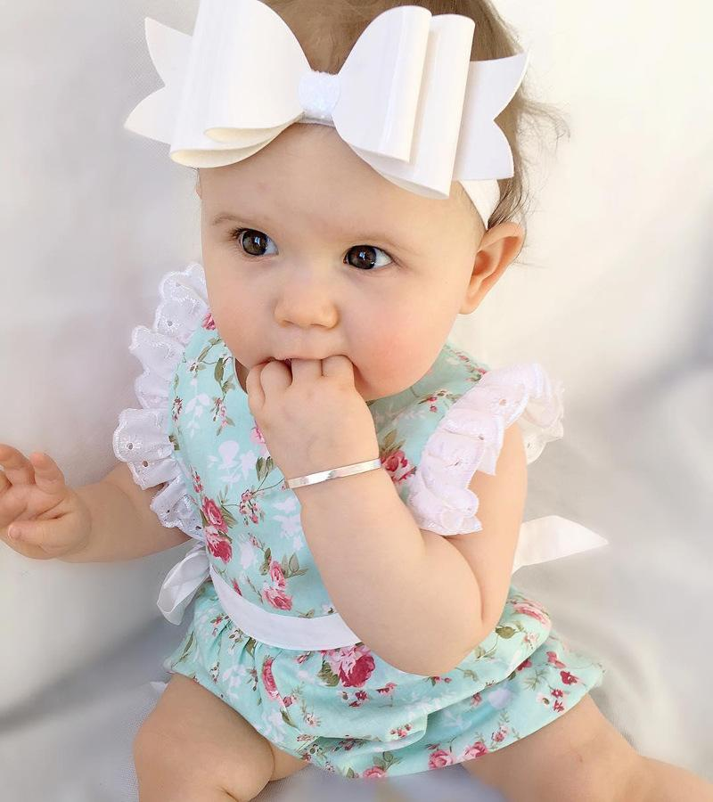 Newborn Baby Girl Floral Suit Lace Jumpsuit Romper Sunsuit+Headband Clothes AB