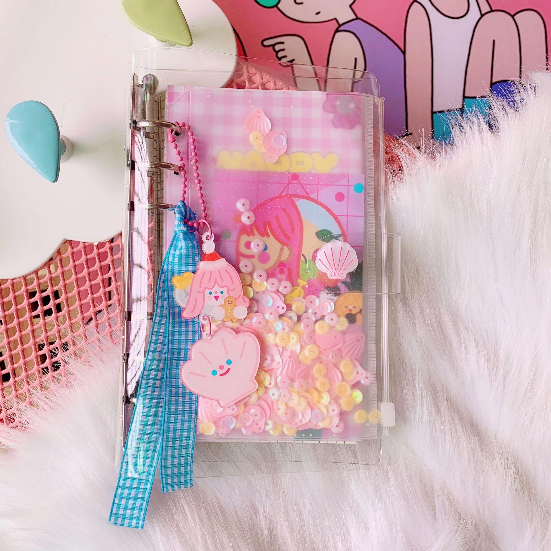 Japan and South Korea creative cute doll girl Notepad student loose-leaf hand ledger set sequins itinerary diary woman