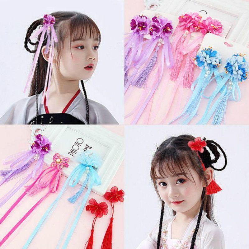 Neue reizende chinesische Art-Bogen mit Quasten-Haar-Accessoires Kinder-Haarnadeln Kinder Kopfbedeckung Baby-Haar-Clips Kopfschmuck