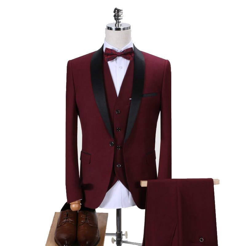2020 Men Tuxedo Slim Fit Fashion Suit Wedding Shawl Lapel 3 Pieces Skinny Single Breasted Jacket Party Prom Singer Costume