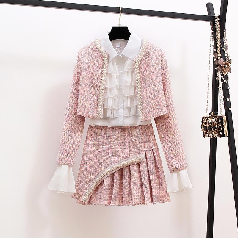 Neue Herbst Winter Mode Damen Anzüge Elegante Rüschen Weiße Blusen + Perlen kurze Jacken + Tweeds Mini Röcke Frauen 3 Stück Set
