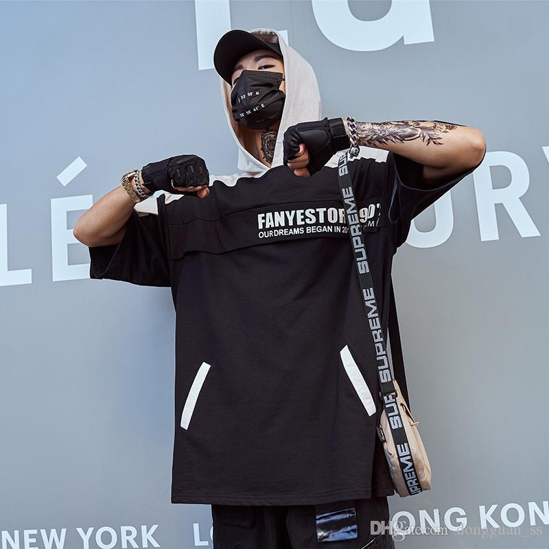 Hip Hop Lettre à capuche T-shirt imprimé Retour hommes poches Ribbons Patchwork manches courtes T-shirts Casual Male Tops Streetwear Pull