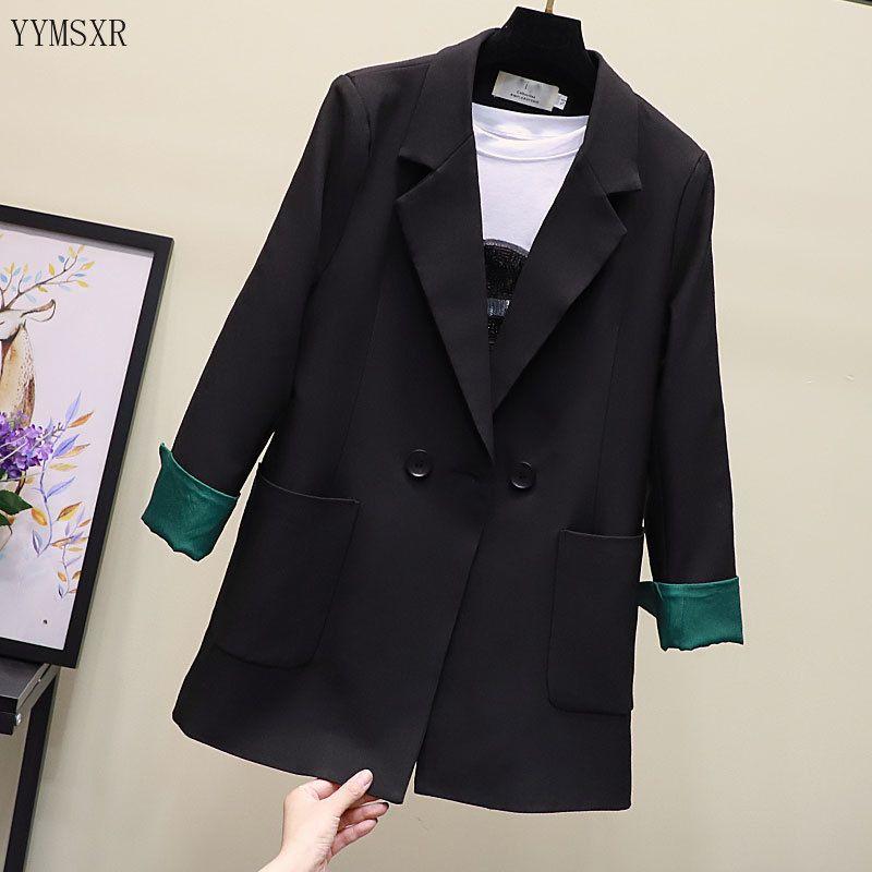 Qualitätsfrauen Klage hochwertige Jacke weiblich 2020 Neue elegante Dame Long Black Blazer Büro Mantel Business-Kleidung