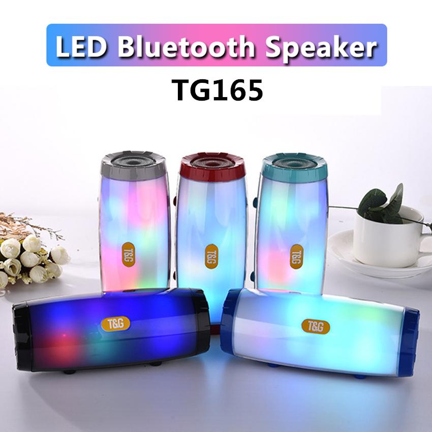 TG165 Portable Wireless Bluetooth Speaker LED Flash Light Music Mp3 Player Super Bass Stereo Subwoofer TF Card Player with Mic Handsfree