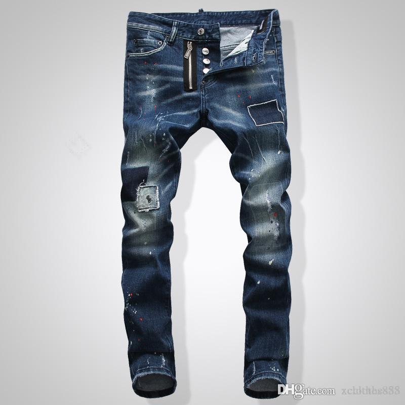 Mens rasgado Tamaño del motorista los pantalones vaqueros de Estados Unidos 29 ~ 42 pantalones vaqueros delgados vierte hommes del diseñador de moda los pantalones vaqueros para hombre del diseñador