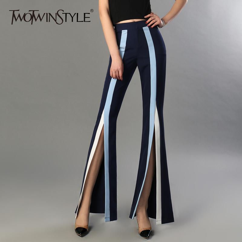Pantaloni a zampa di TWOTWINSTYLE donne femminile a vita alta elastico a righe Bodycon Split Pantaloni Primavera Estate 2020 Grandi Dimensioni Moda