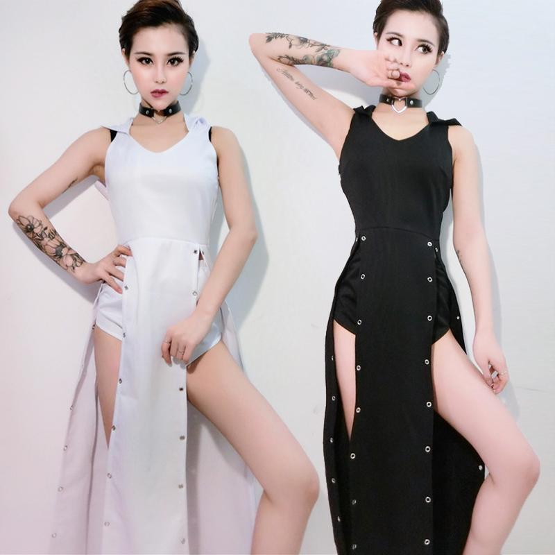 Cantora DJ Nightclub Party DS Celebre roupas sexy Dividir Jumpsuit Shorts 2 Pcs Pole dancing Figurino Suit DWY1634