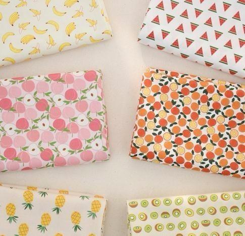 160x50 cm Fruta Sandía Piña Algodón Suave DIY Ropa de tela de los niños Hacer Ropa de cama Edredón Decoración Hogar 180 g / m