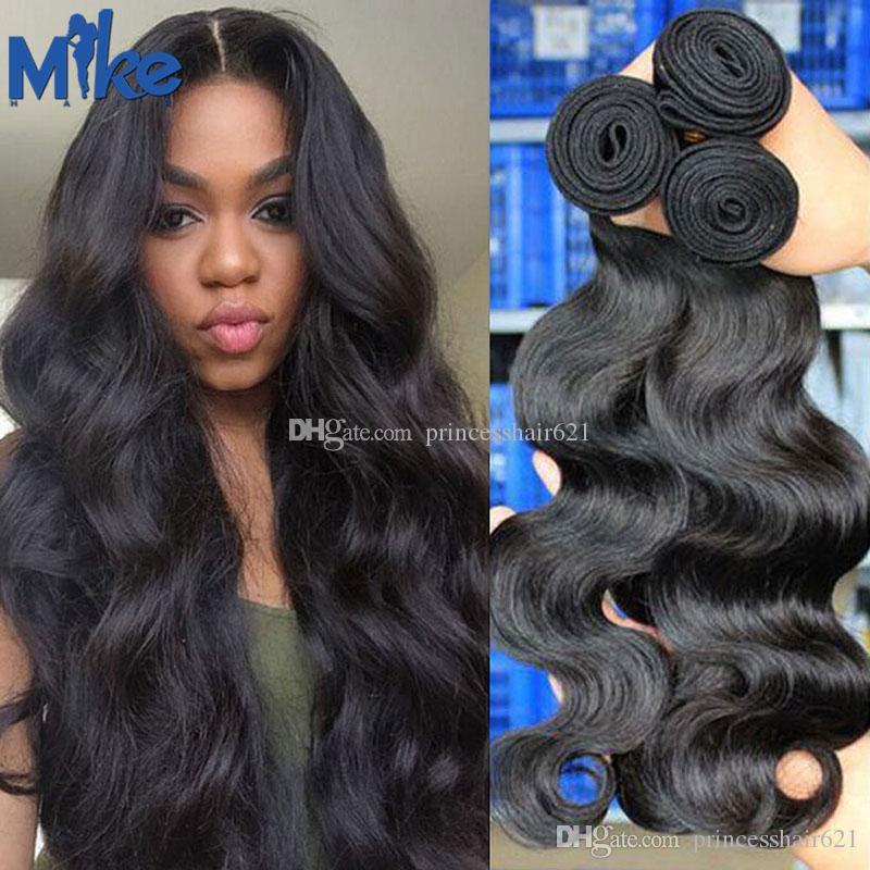 Malaysianisches indisches peruanisches brasilianisches jungfräuliches Haar hohe Qualität menschliche Haare Gewebe 3 Bündel Körperwelle Brasilianische Gewebe MIKEHAIR Produkte