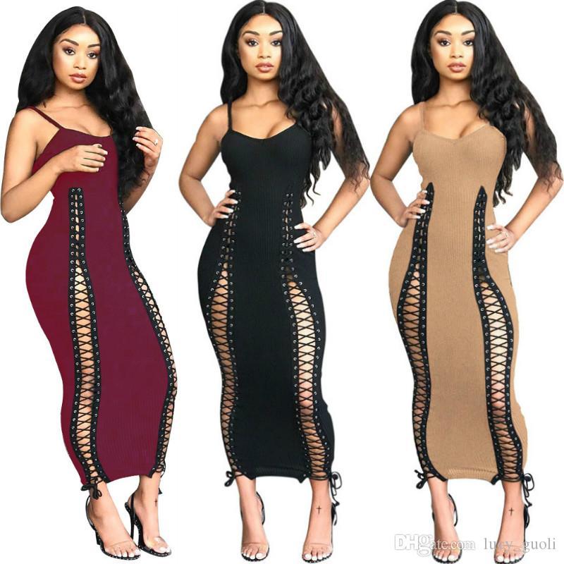 Women Sexy Bandage Backless Sleeveless Slim Bodycon Dress Hollow Out Skinny Spaghetti Strap Vestidos Party Club Wear Ladies Long Maxi Dress