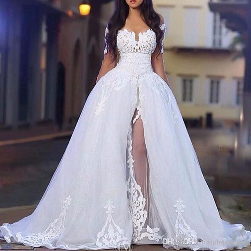 Elegante fuera de los vestidos de novia de los hombros para las mujeres árabes con la falda de la bola de boda de la manga larga de la manga larga con el tren desmontable