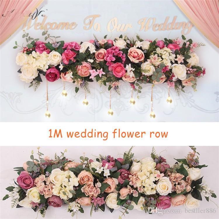 100cm Flower Row Arch Arrangement Flower Stage Road Lead Flower Wedding Scene Layout Party Decoration Floral