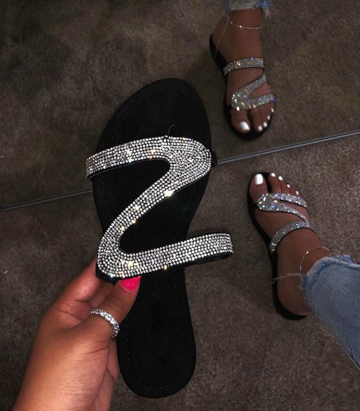 2019 Fashion Womens Shoes Diamond Flat