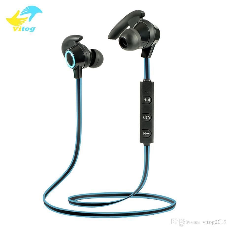 Vitog AMW-810 precio barato Deportes banda para el cuello Auriculares Bluetooth Wireless azul de los auriculares estéreo diente auricular con micrófono