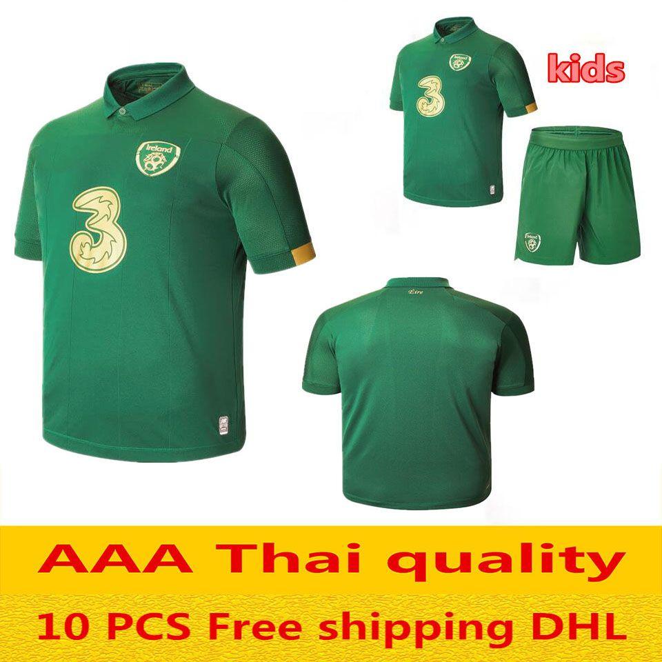 meilleure qualité 2020 Ireland Soccer Jersey 2019 2020 Accueil République de République d'Irlande Uniformes Équipe Nationale Kit enfants