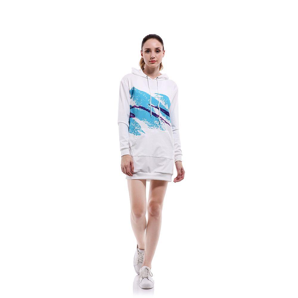 Ручная роспись голубой крест нерегулярные полосы тенденции моды свободно похудение балахон случайные осенью и зимой свитер футболку