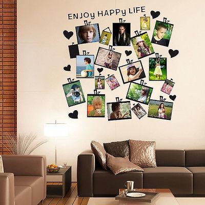 20Pcs ritratto Photo Frame Wall Sticker murale Casa Decor Sticker Cuore Citazione