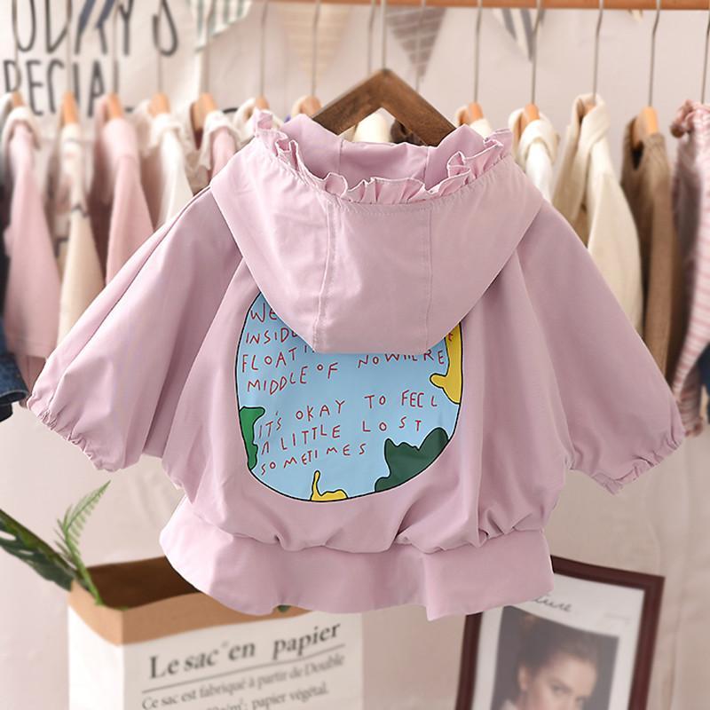2020 Brasão Primavera do bebé do outono Trench crianças roupas Meninas Casacos Casacos Infantil Crianças roupas de algodão com capuz Exteriores Blusão