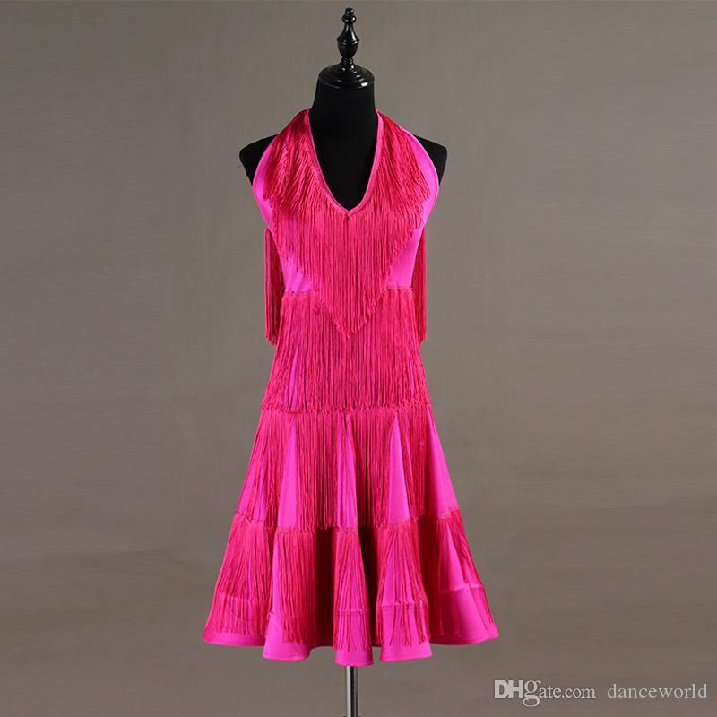Özel Gül Püskül Latin Dans Elbise Kadın / Bayan Rekabet Taşları Elbise Balo Salonu Cha Cha Salsa Rumba Dansçı Için Giyim S-XXL