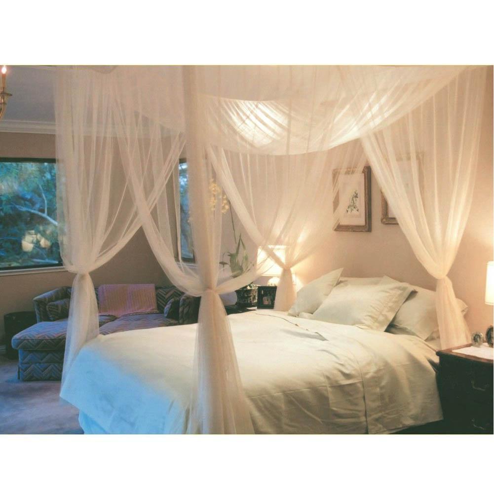 Perde Yatak Canopy Net Tam Kraliçe Kral Boyutu Sleeping Beyaz Üç Kapı Prenses Cibinlik Çift Kişilik Yatak Perdeler