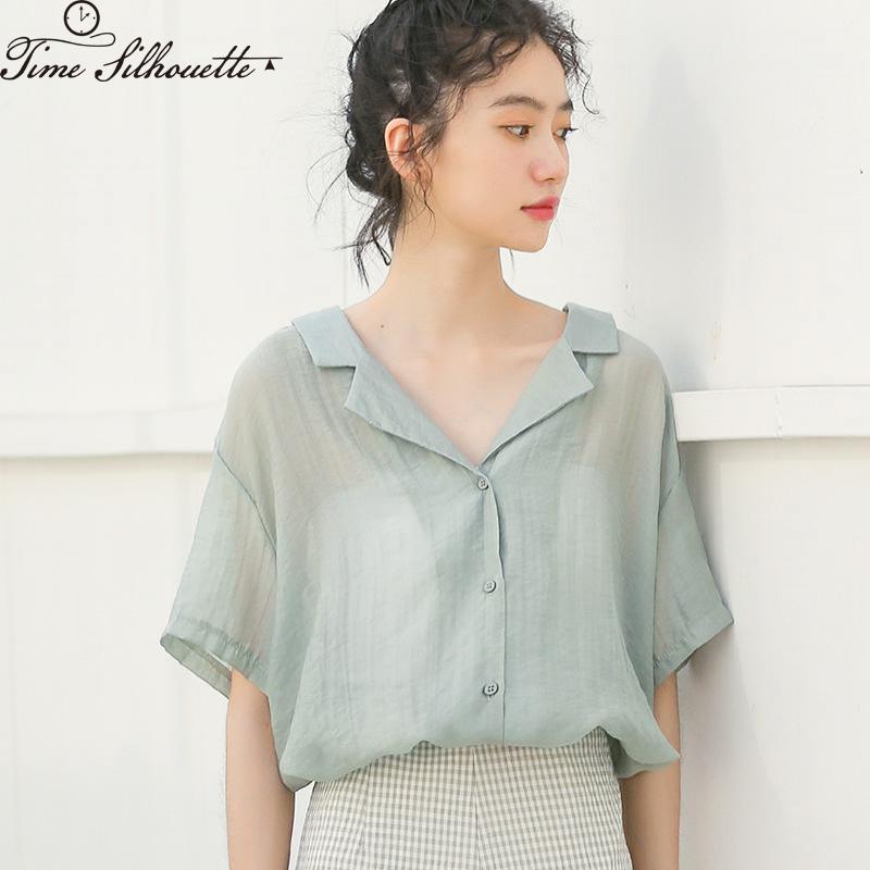 Lacer Chemisier en mousseline à manches courtes Chic à col claudine Blouses femmes 2020 Chemises Eté Mode Hauts Vert clair M251