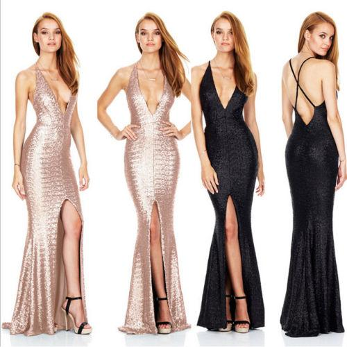 Fashion New Women Ladies Summer Sexy Deep V Neck Backless Formal Dress Solid Sleeveless Evening Party Slim Long Dresses