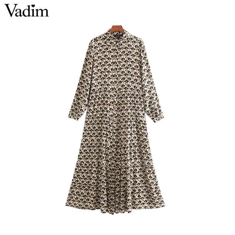 Вадим женщины элегантный принт миди платье с длинным рукавом женский повседневный уютный прямой середины икры платья vestidos mujer QC825