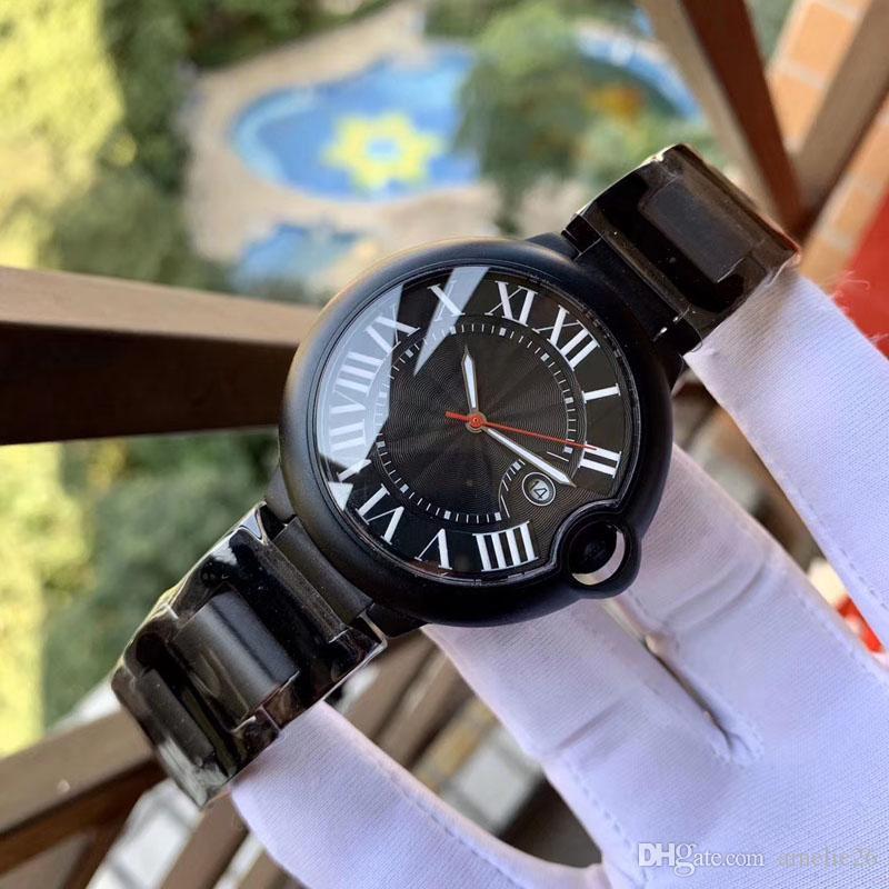 Full Black relogio masculino montres hommes cas de mode sport en acier inoxydable avec bracelet en cuir Quartz affaires Montre bracelet reloj hombre