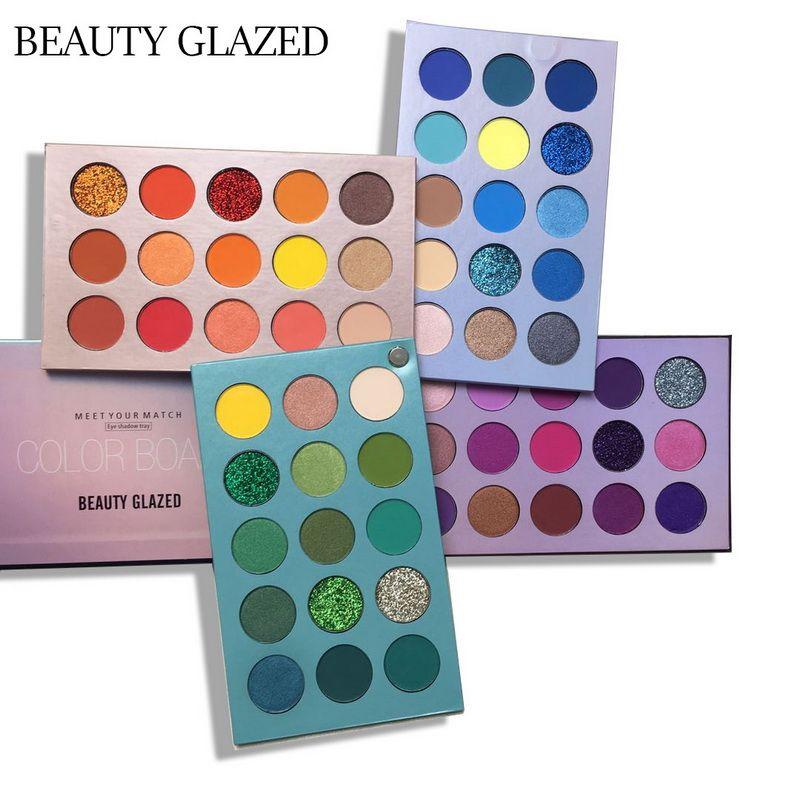 Skönhet glaserade 60 färgbräda ögonskugga palettbricka med 4 brädor lätt att bära skimmer ljusa pärla cos scen ögon makeup paletter