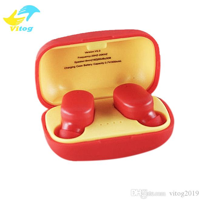 스마트 폰에 대한 Vitog 새로운 TWS W11 무선 헤드폰 미니 무선 이어폰 이어폰 자동 연결 블루 치아 헤드셋